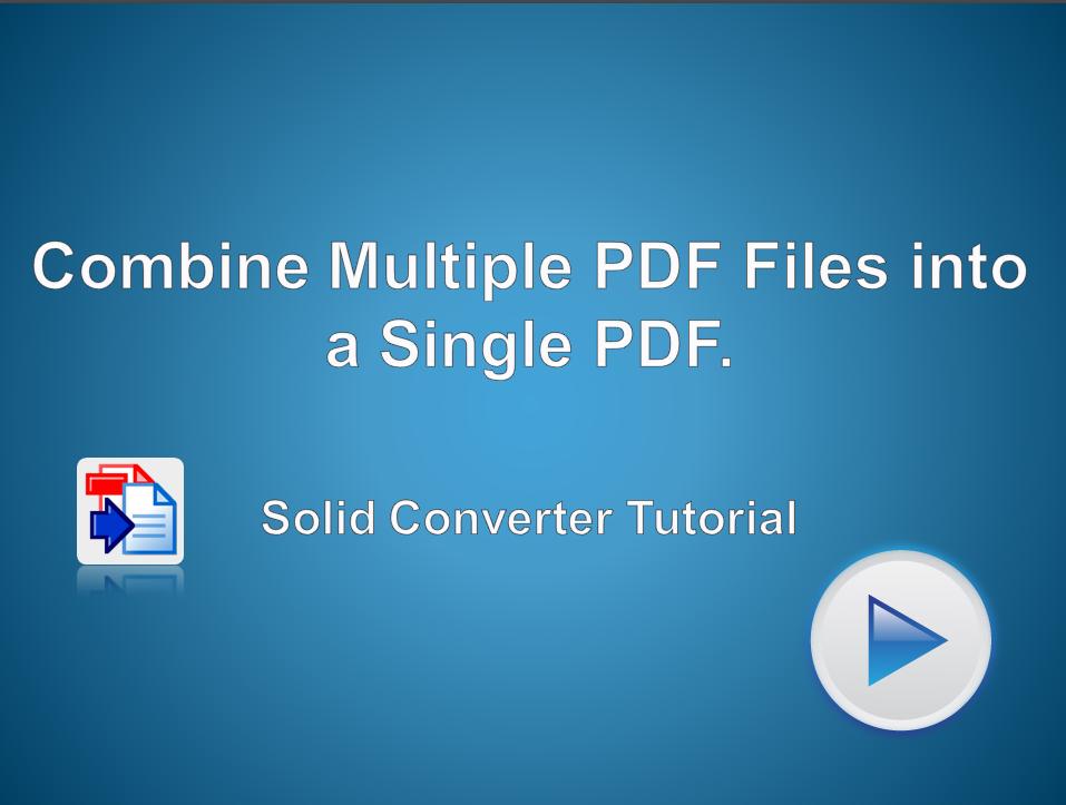Combine Multiple PDF files into a Single PDF