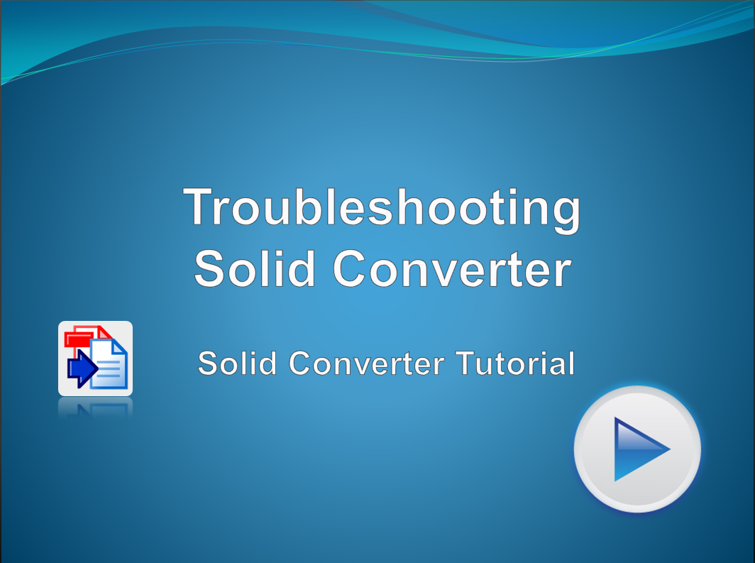 Troubleshooting Solid Converter