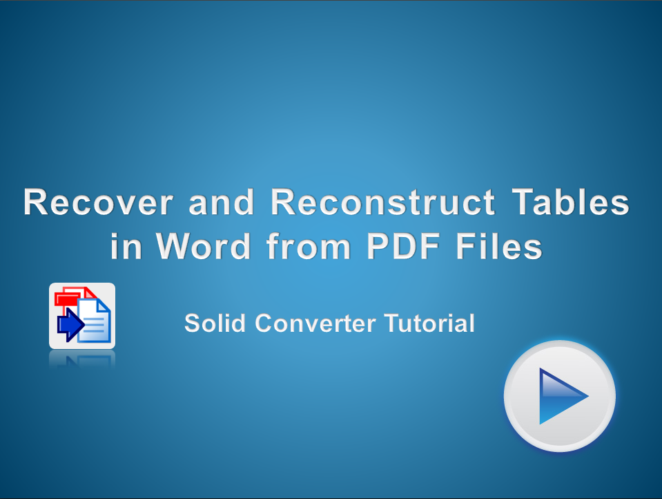 Recover and Reconstruct Tables from a PDF File