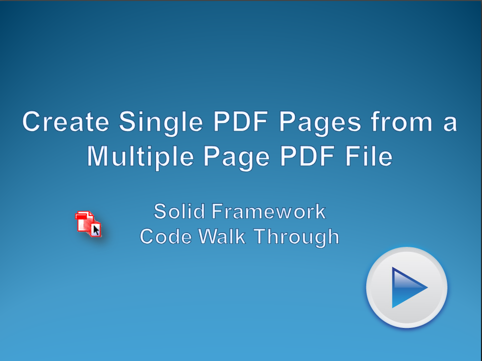 Extract Single PDF Pages from a Multiple Page PDF File