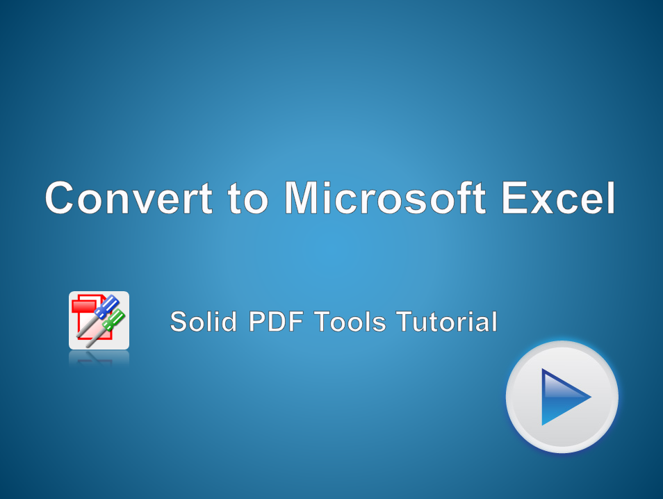 Convert PDF Files to Microsoft Excel