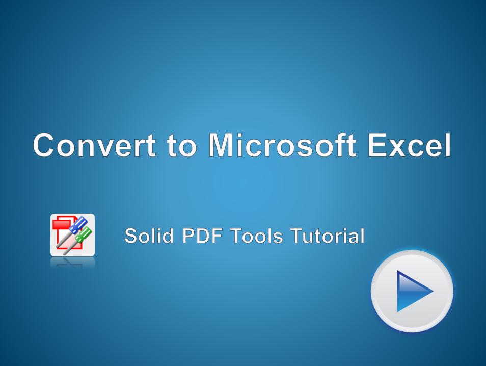 Convert PDF Files to Microsoft Excel