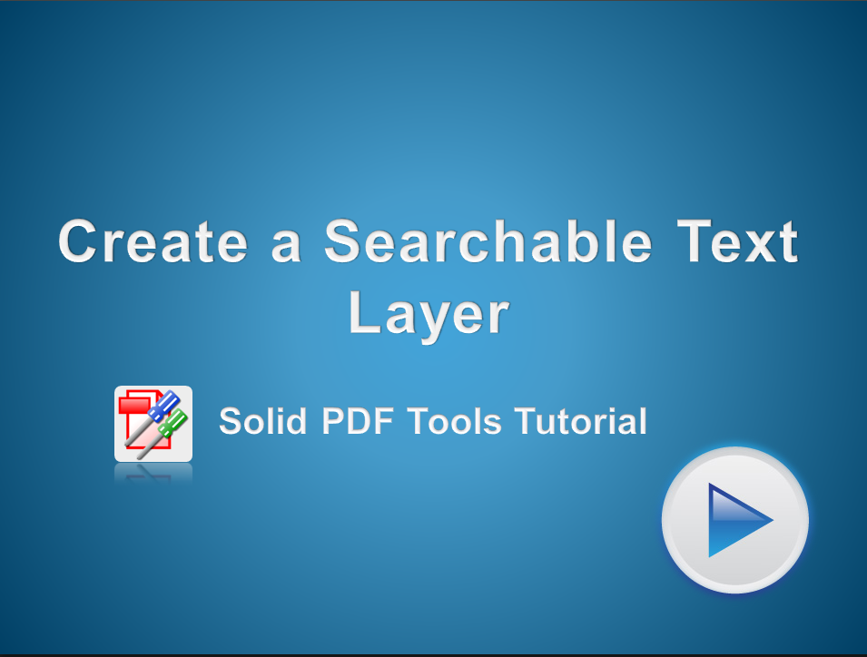 Create a Searchable Text Layer on a PDF File