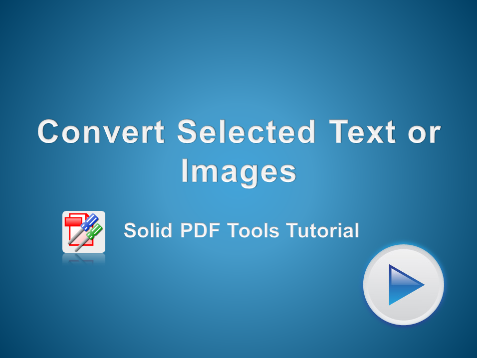 Convert Selected Text or Images from a PDF file