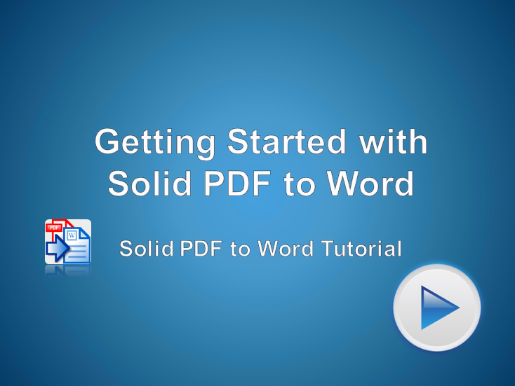 Getting Started with Solid PDF to Word