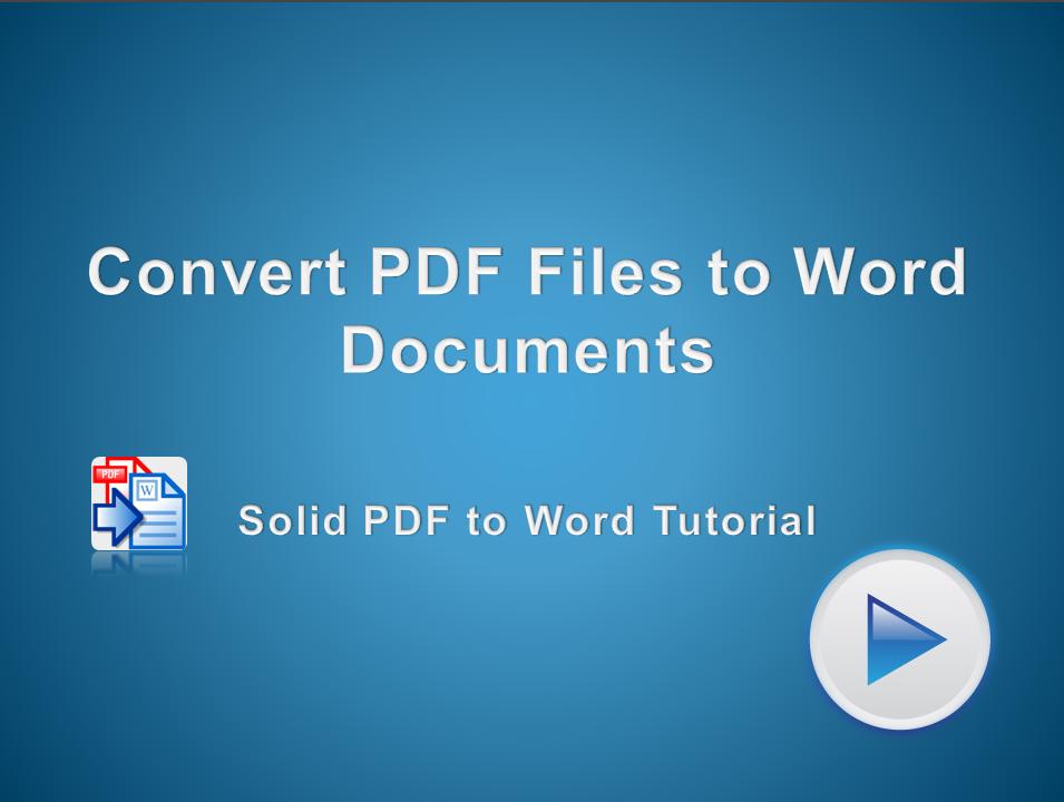 Convert PDF Files to Microsoft Word