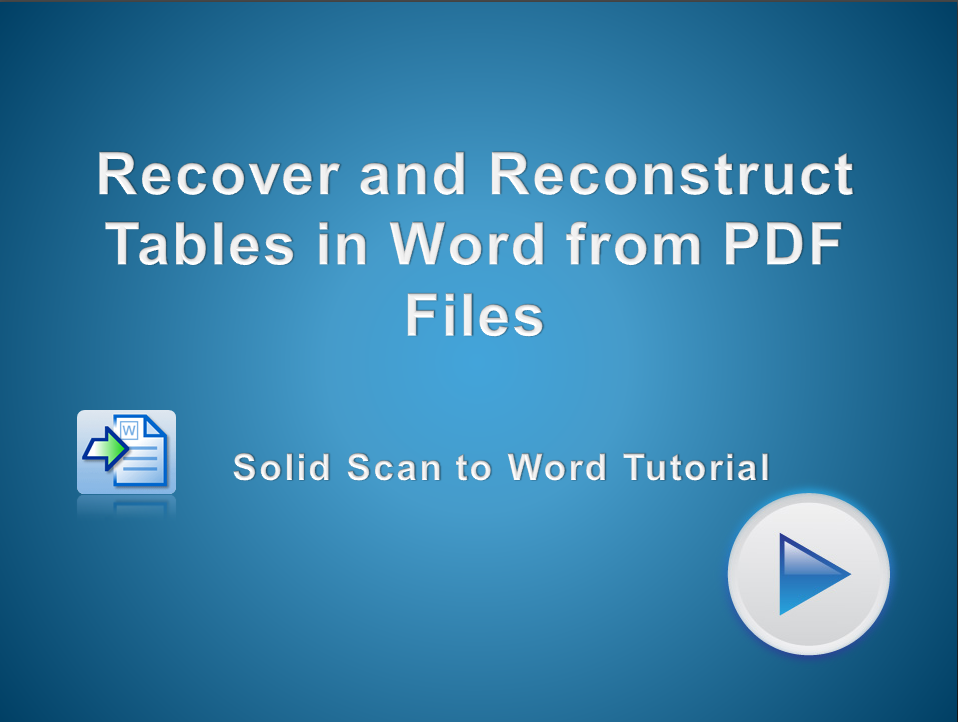 Recover and Reconstruct Tables into Microsoft Word from PDF Files